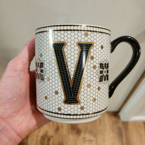"""Anthropologie Tiled Margot Monogram """"V"""" Mug Mosaic"""